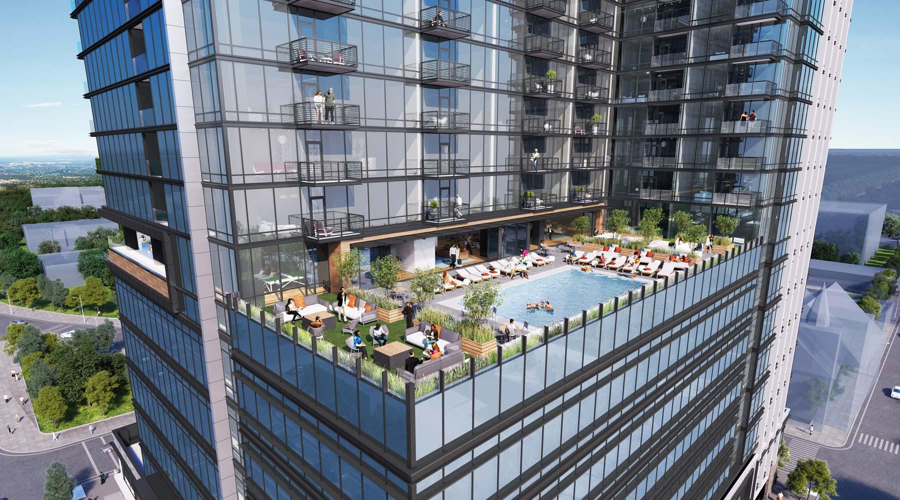 400H Rendering Of People In Roof Top Pool
