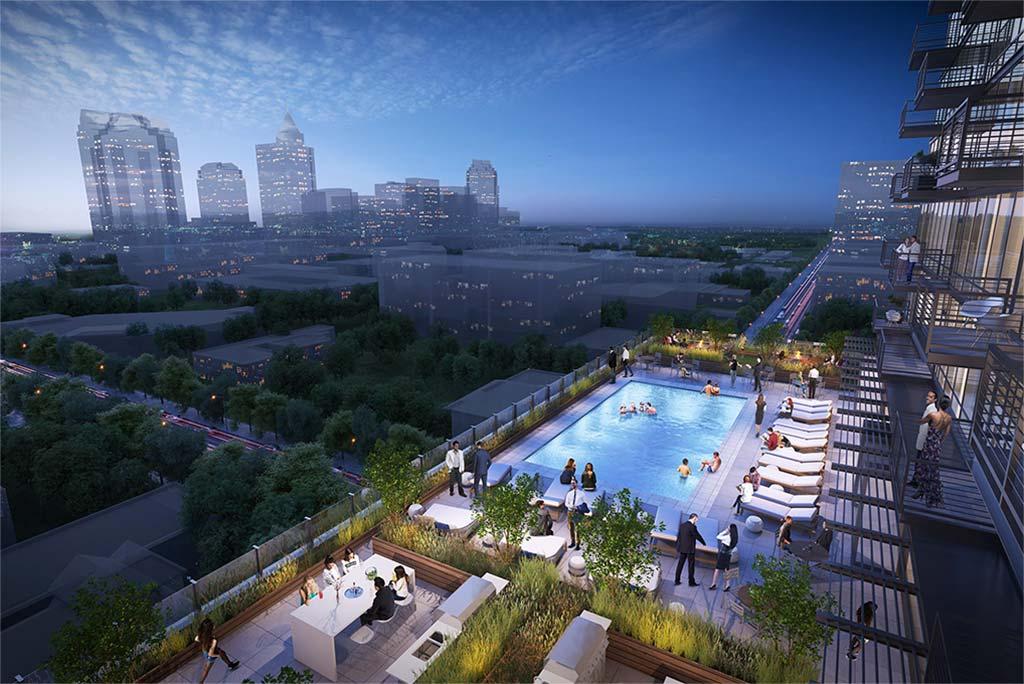 400H night time rendering of people in roof top pool