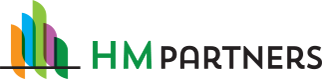 HM Partners Logo - Green and black sans-serif type with building icon illustration to left